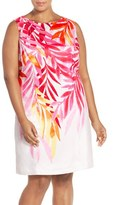 Ellen Tracy Plus Size Women's Placed Print Sleeveless Sheath Dress