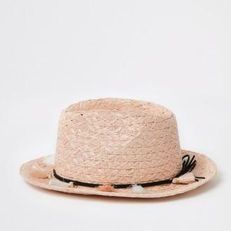 River Island Mini girls Pink tassel straw trilby hat