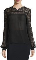 Oscar de la Renta Long-Sleeve Silk Blouse w/Lace Yoke, Black
