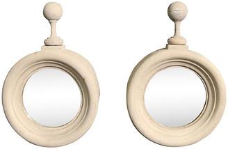 One Kings Lane Vintage Napoleon III Zinc Window Mirrors - Set of 2 - Schorr & Dobinsky - gray