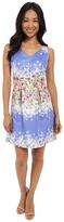 Tahari by Arthur S. Levine Petite Floral Jacquard V-Neck Fit and Flare Dress