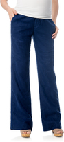 A Pea in the Pod Pull On Style Linen Skinny Flare Maternity Pants