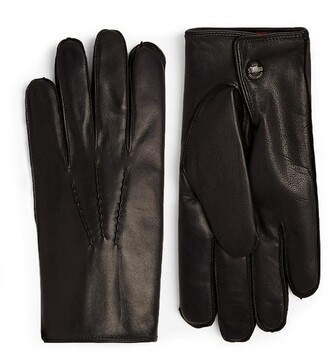 Dents Leather Rabbit Fur-Lined Gloves