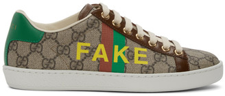 Gucci Beige and Brown Fake/Not Ace Sneakers