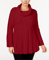 Style&Co. Style & Co. Plus Size Cowl-Neck Swing-Hem Sweater, Only at Macy's