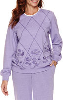 Alfred Dunner Long Sleeve Crew Neck Knit Blouse-Petites