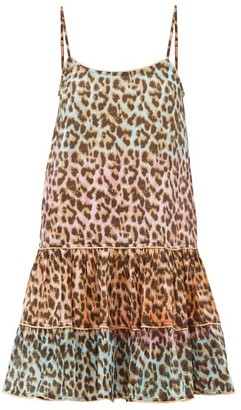 Juliet Dunn Leopard-print Ruffled-hem Cotton Dress - Womens - Pink Print