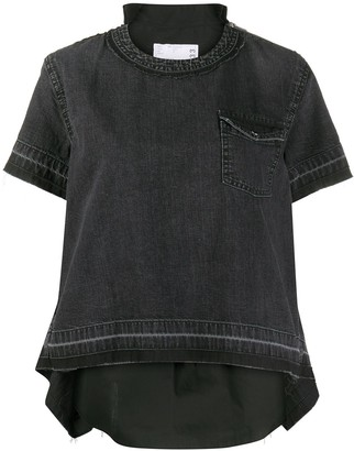 Sacai Reconstructed Denim-Poplin Blouse