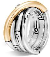 John Hardy Brushed 18K Yellow Gold and Sterling Silver Bamboo Ring