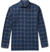 Dunhill Slim-fit Checked Cotton-blend Shirt - Navy