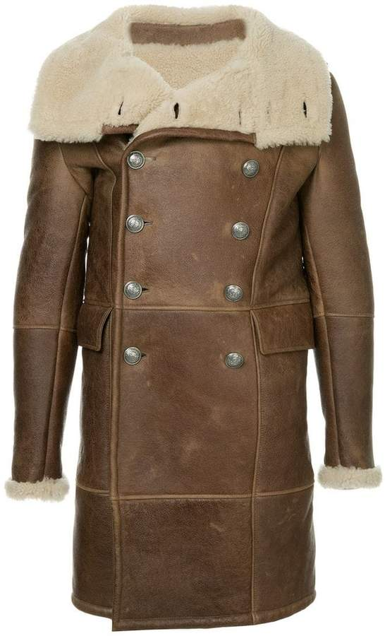 Balmain shearling double-breasted coat