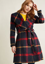 ModCloth Belted Plaid Coat with Wide Collar in 4X