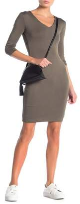Blvd V-Neck 3/4 Length Bodycon Dress