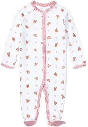 Polo Ralph Lauren Kids Bear-Print Cotton Coverall (Infant) (White Multi/Paisley Pink) Girl's Overalls One Piece