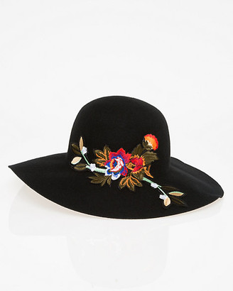 Le Château Embroidered Wool Floppy Hat