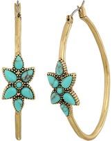 Lucky Brand Turquiose Flower Hoop Earrings