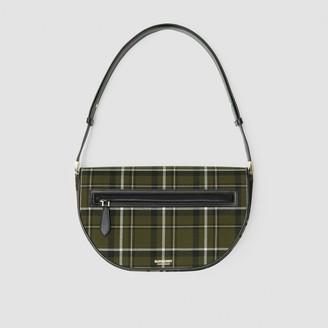 Burberry Medium Tartan Wool and Leather Olympia Bag