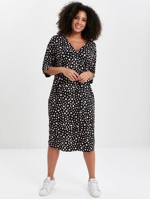 Evans Polka Dot Button Pocket Dress - Black