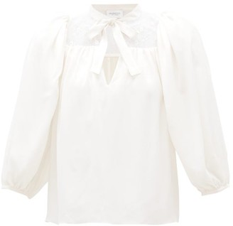 Giambattista Valli Lace-panel Silk-crepe Blouse - Womens - Ivory