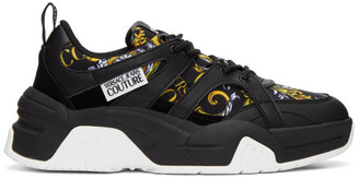 Versace Black and Gold Barocco Sneakers