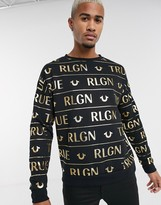 True Religion all over foil print sweatshirt in black
