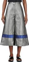 Roksanda Grey Metallic Cropped Wide-Leg Craven Trousers