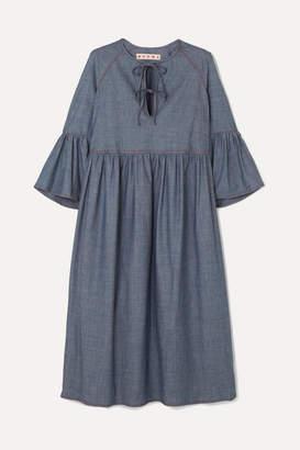 Marni Cotton-blend Chambray Midi Dress - Gray