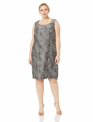 Kasper Women's Plus Size Sleeveless Square Neck Jacqaurd Dress