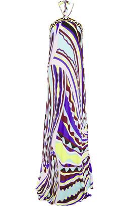 Emilio Pucci Chain-trimmed Printed Voile Halterneck Maxi Dress