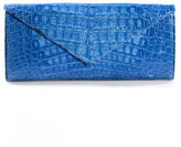 LAI Blue Crocodile Leather Fold Over Envelope Clutch