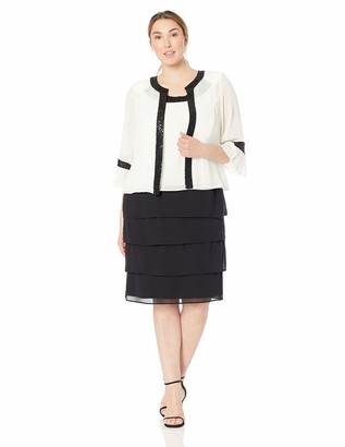 Le Bos Women's Plus Size Pleated Bell Sleeve Jacket Dress