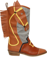 Stella McCartney Faux Leather & Canvas Cowboy Boots