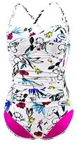 Seafolly Women's Flower Festival Twist Halter Maillot One Piece Swimsuit