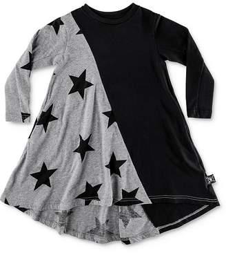Nununu Girls' Color-Block Star Print Dress - Little Kid, Big Kid
