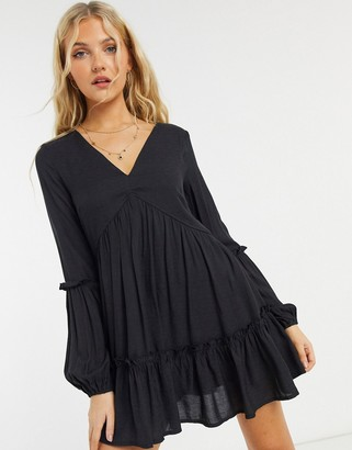 In The Style x Jac Jossa textured smock dress in black