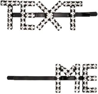 "Ashley Williams Crystal ""Text Me"" Hair Pins"