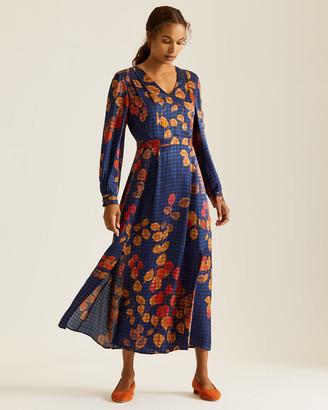 Jigsaw Gingham Leaf Midi Dress