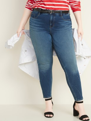 Old Navy High-Waisted Secret-Slim Pockets + Waistband Rockstar 24/7 Sculpt Plus-Size Super Skinny Jeans