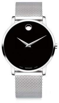 Movado Museum Classic Stainless Steel Mesh Bracelet Watch - Black