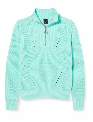 Scotch & Soda Girl's Chunky Cotton Pullover with Half Zip Sweater