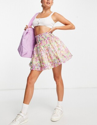 Lost Ink mini skirt with shirred waist in watercolor floral organza