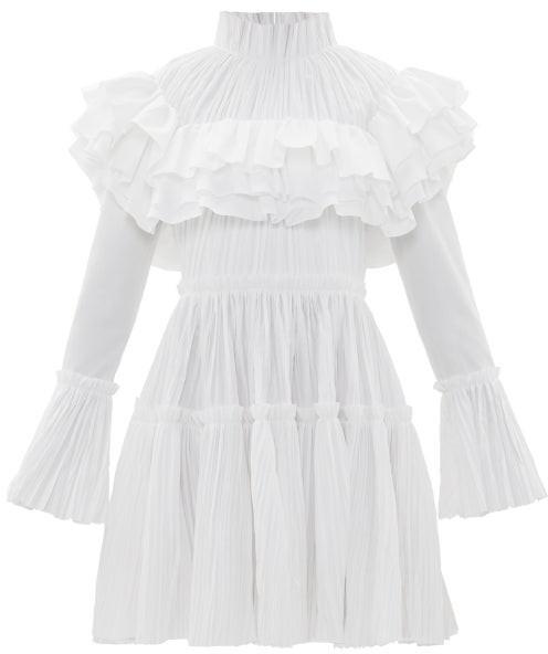 KHAITE Ruffled High-neck Cotton-plisse Dress - White