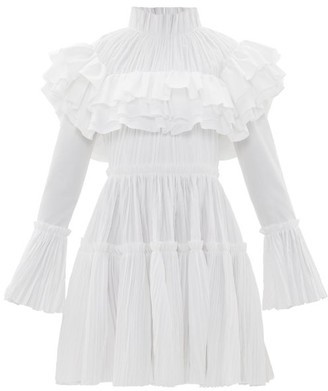 KHAITE Ruffled High-neck Cotton-plisse Dress - White