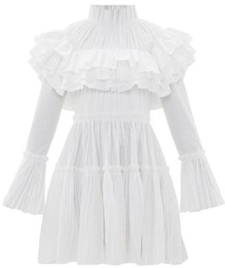 KHAITE Ruffled High-neck Cotton-plisse Dress - Womens - White