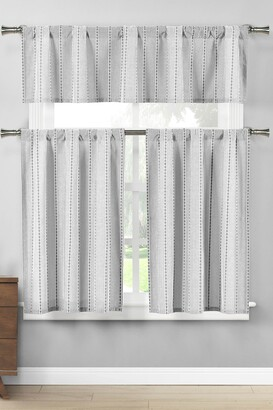 Duck River Textile Kylie Pinstripe Kitchen Curtain & Tier Set - Black/White