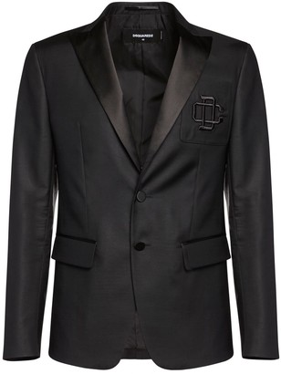 DSQUARED2 Embroidered London Silk & Wool Blazer