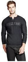 GUESS Men's Beck Logo Slit-Neck Sweater