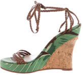 Michael Kors Canvas Multistrap Wedge Sandals