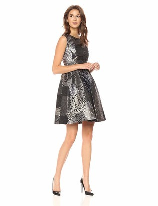 Anne Klein Women's Inverted Fit and Flare Jaquard Dress