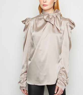 New Look Cameo Rose Satin Puff Sleeve Blouse